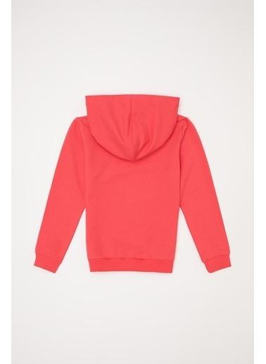 DeFacto Kız Çocuk Baskılı  Kapüşonlu Sweatshirt Pembe